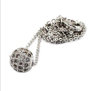 Lucky silver small crystal ball clavicle necklace